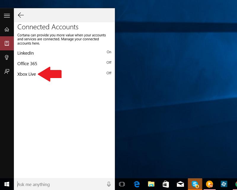 قابلیت اتصال اکانت XBOX Live  به کرتانا در ویندوز ۱۰