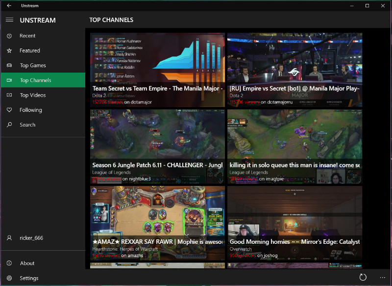 Unstream برنامه ای یونیورسال برای مشاهده ویدیوهای Twitch
