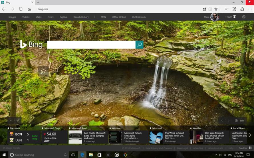 آموزش استفاده از صفحه قدرتمند و زیبای Bing در مرورگر Microsoft Edge