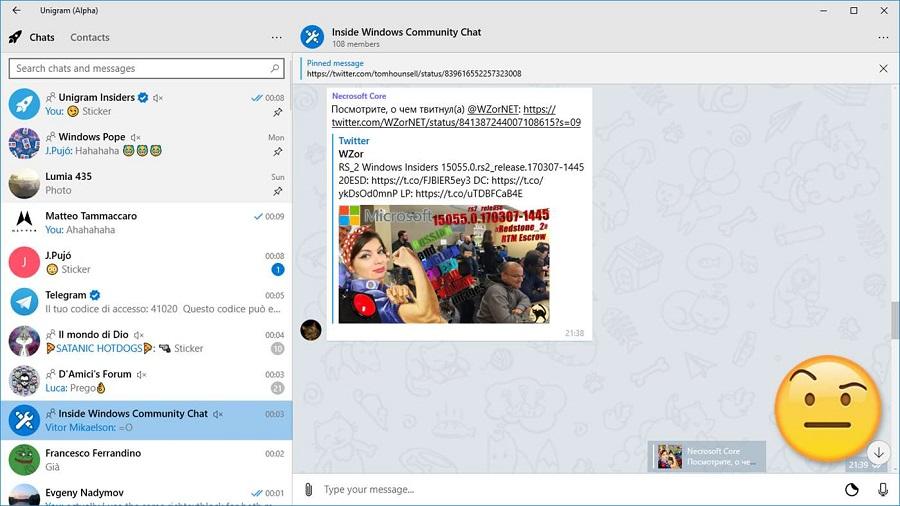 نسخه پیش نمایش Unigram (تلگرام) برای PC، موبایل و ایکس باکس ویندوز ۱۰