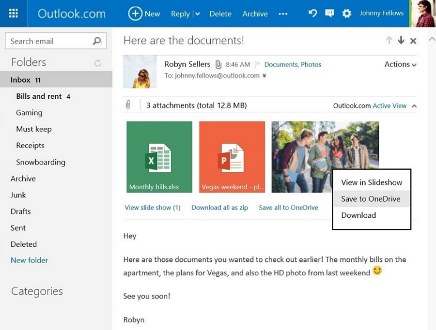 آیا می دانستید می توانید فایل های ضمیمه شده در ایمیل را در OneDrive ذخیره کنید!