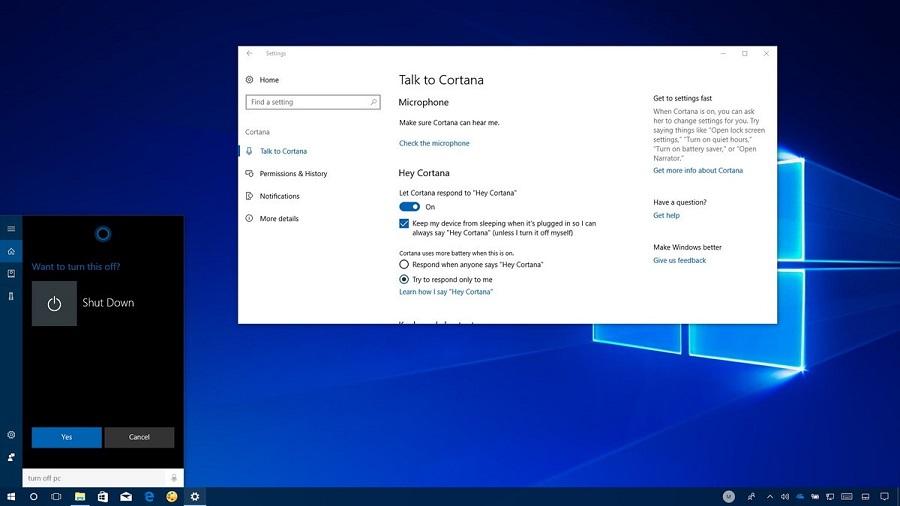 قابلیت Restart و Shut Down کردن ویندوز ۱۰ با کرتانا در آپدیت Fall Creator Update