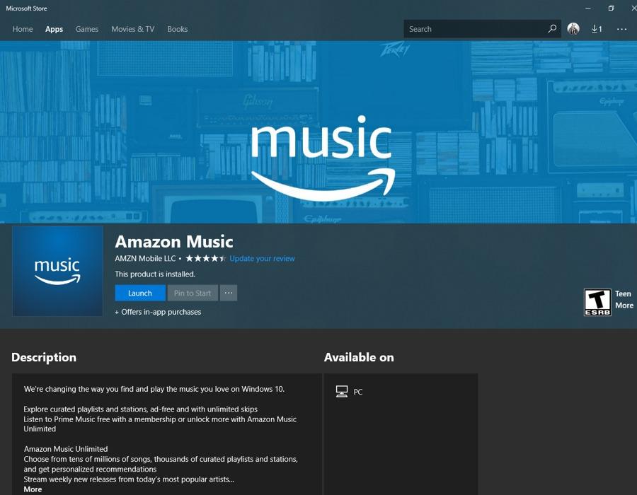 اپلیکیشن Amazon Music به صورت رسمی برای ویندوز ۱۰ منتشر شد.