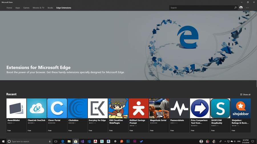 به کمک بخش Edge Extention در استور مایکروسافت دسترسی آسان افزونه ها امکان پذیر شد.