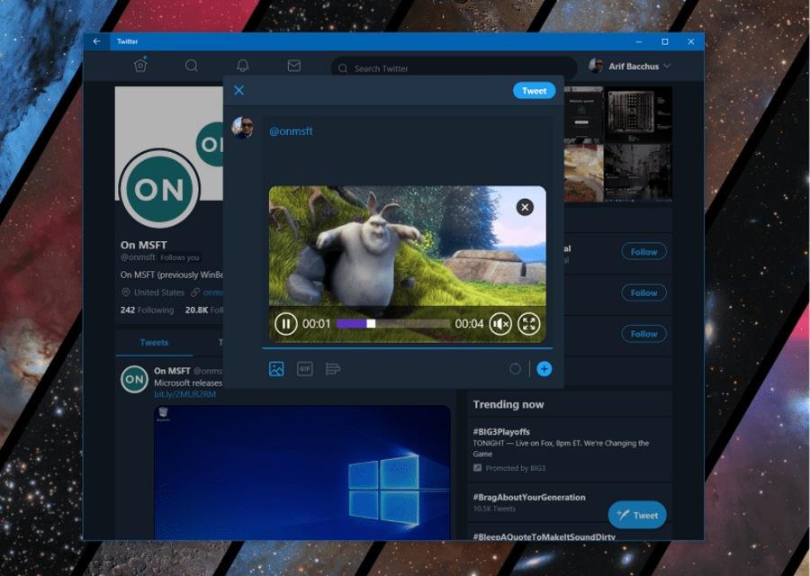 نسخه جدید اپلیکیشن توییتر با قابلیت ارسال ویدیو و پشتیبانی از تایم لاین ویندوز