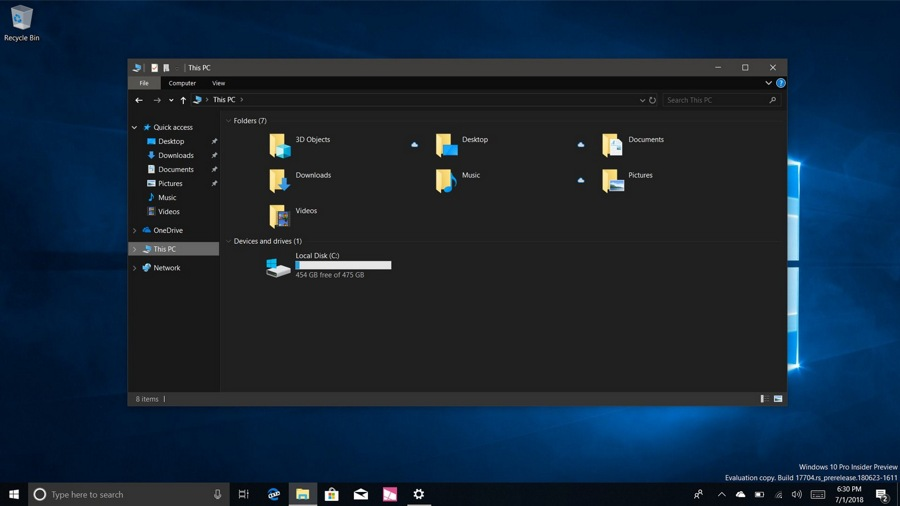 Windows dark theme