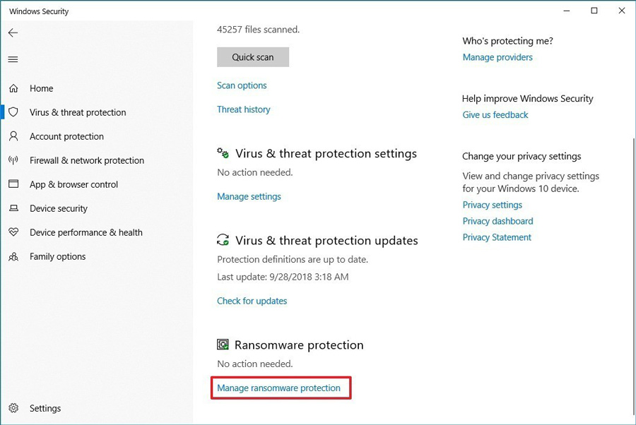 virus-settings-ransomware-protection-windows-10-1809