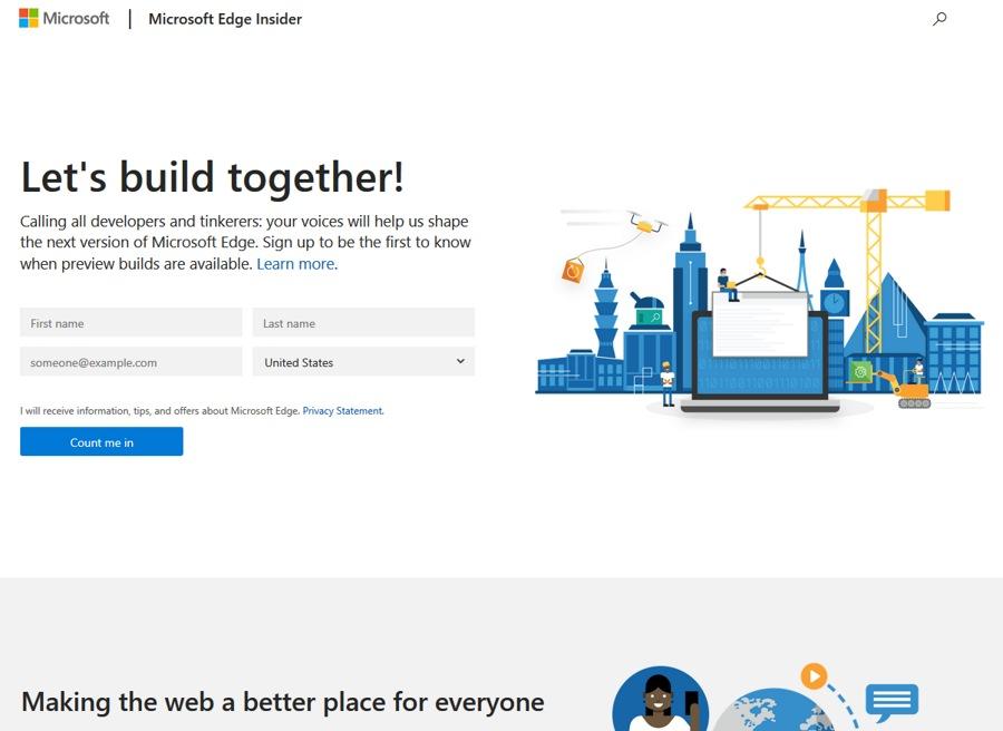 امکان عضویت در نسخه Microsoft Edge Insider که سال آینده منتشر می شود.