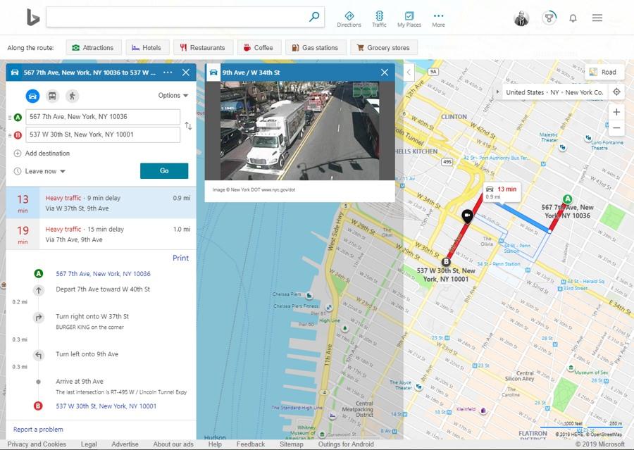 Bing Map با قابلیت مشاهده ترافیک مسیر به همراه تصاویر دوربین های ترافیکی