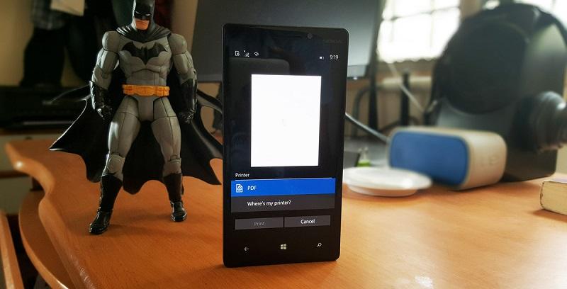 امکان پرینت فایل ها در ویندوز ۱۰ موبایل بیلد ۱۰۱۴۹