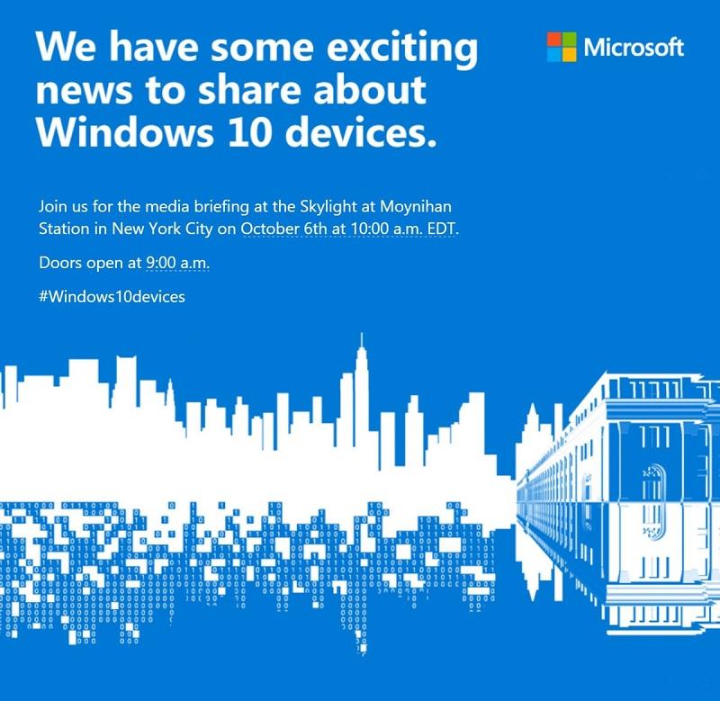 اعلام رسمی مایکروسافت از رونمایی دستگاههای ویندوز ۱۰ در تاریخ ۶ اکتبر