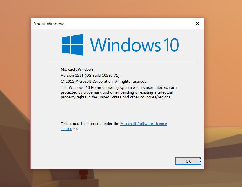 آپدیت cumulative ویندوز ۱۰ برای PC و تبلت با بیلد ۱۰۵۸۶٫۷۱ منتشر شد.