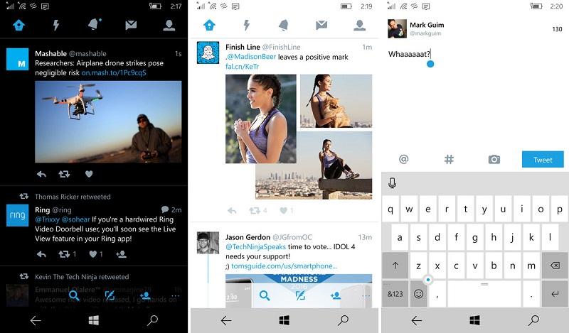 Twitter نسخه ۵ برای ویندوز ۱۰ موبایل و پی سی منتشر شد.
