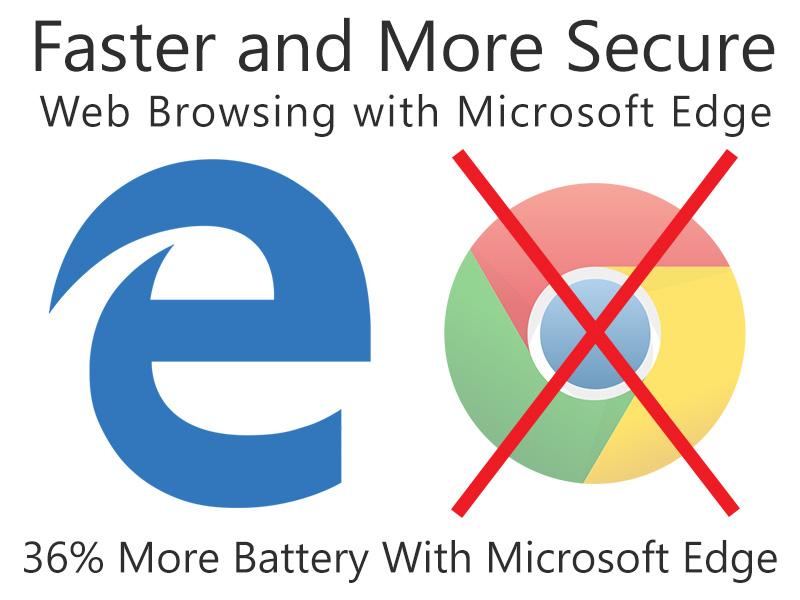 از مرورگر گوگل کروم استفاده نکنید. امنیت و سرعت بیشتر با Micorosoft Edge