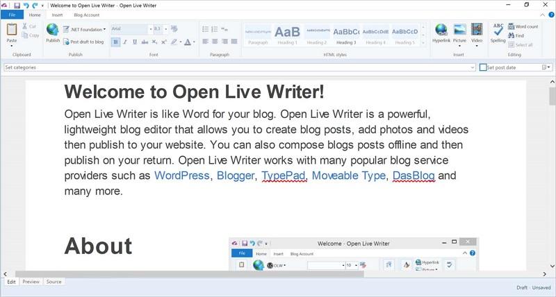 برنامه مدیریت وبلاگ و وبسایت Open Live Writer در استور ویندوز ۱۰ منتشر شد.