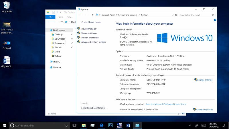 رونمایی مایکروسافت از اجرای ویندوز ۱۰ PC بروی فبلت و موبایل!