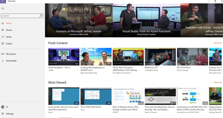 اپلیکیشن یونیورسال Channel 9 برای ویندوز ۱۰ موبایل و PC
