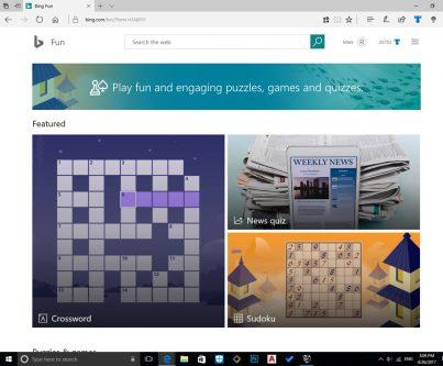 اضافه شدن بخش جدید Fun & Games به صفحه ی بینگ