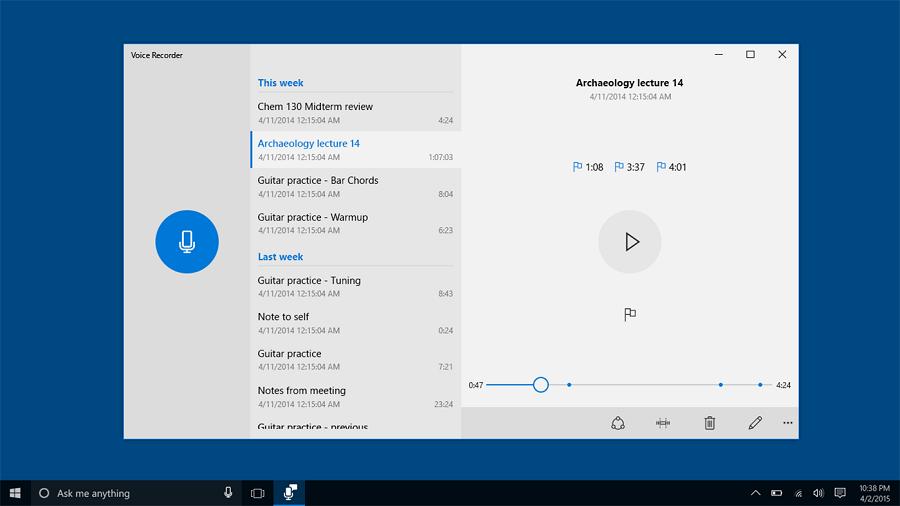بهترین برنامه ضبط صدا بروی موبایل، تبلت و کامپیوتر Windows Voice Recorder