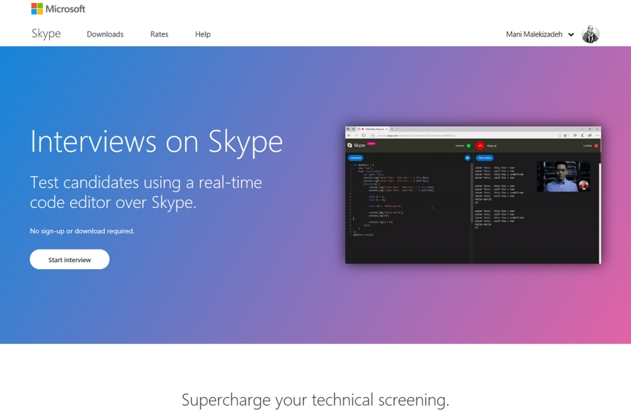 قابلیت جدید اسکایپ برای مصاحبه آنلاین و کد نویسی زنده در مرورگر وب!
