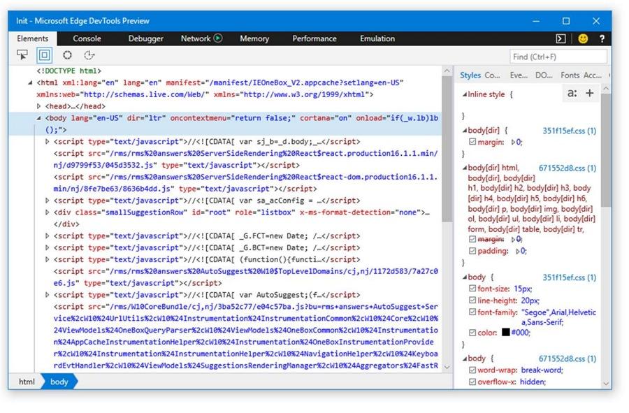 نسخه Microsoft Edge DevTools Preview برای برنامه نویسان و طراحان وب