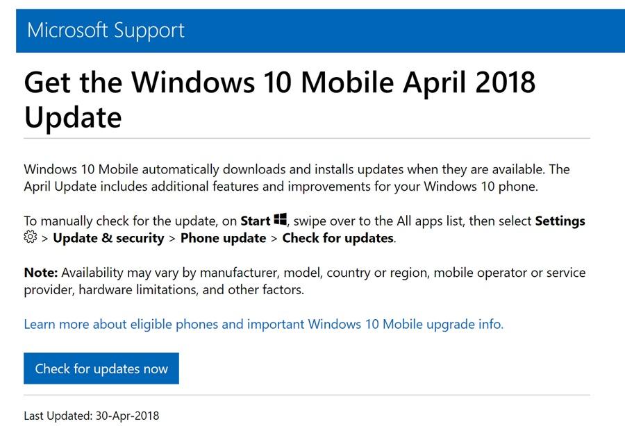 احتمال انتشار ویندوز ۱۰ موبایل با نسخه April Update با قابلیت جدید وجود دارد!