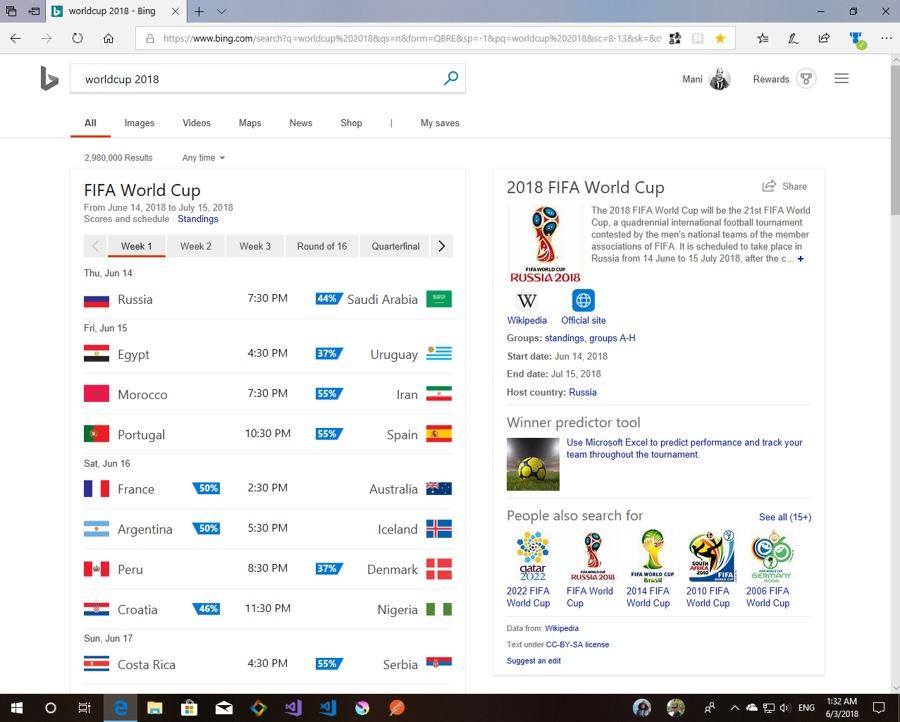 در پیش بینی Bing.com ایران به احتمال %۵۵ در بازی با مراکش پیروز می شود!