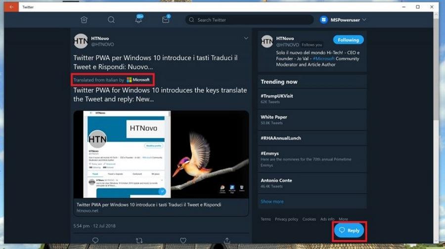 اپلیکیشن PWA توییتر با آپدیت جدید سمت سرور خود مجهز به سرویس مترجم شد.
