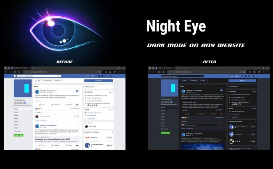 Night Eye در مرورگر Microsoft Edge به شما اجازه ویرایش تم سایت می دهد.
