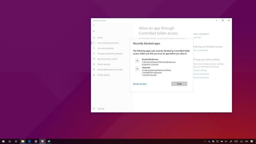آموزش اجازه دادن به برنامه بلاک شده در Windows Security ویندوز ۱۰ آپدیت ۱۸۰۹